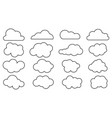 set of outline cloud icons vector image