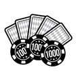 set poker chips and poker cards for casino games vector image vector image