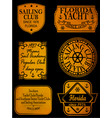 set retro vintage nautical labels and badges vector image vector image