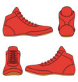 set with red wrestling shoes vector image