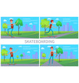 skateboarding banner colorful vector image vector image