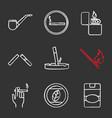 smoking chalk icons set vector image vector image