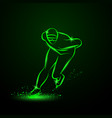 speed skater neon winter sport vector image