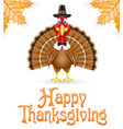 thanksgiving turkey bird vector image vector image
