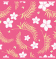 tropical pink flowers seamless repeat pattern vector image vector image