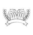 two beer glasses drink celebration emblem vector image vector image