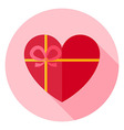 Valentine Day Heart Shaped Gift with Bow Circle vector image