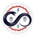 venomous snake vintage tattoo logo or emblem of vector image