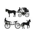 vintage carriages with horses pictures of vector image