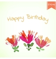 Watercolor beautiful decorative flowers with Happy vector image