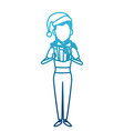 woman with christmas giftbox vector image vector image
