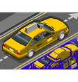 Isometric Yellow Taxi in Rear View vector image