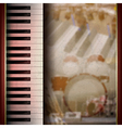 abstract grunge background with piano on brown vector image vector image