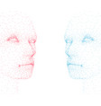 abstract human faces made particles blue and vector image vector image