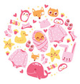 baby shower newborn girl vector image