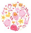 baby shower newborn girl vector image vector image