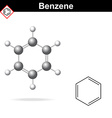 Benzene 3d molecular structure vector image vector image