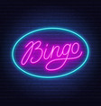 bingo neon sign on brick wall background vector image