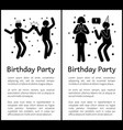 birthday party posters with people that have fun vector image vector image