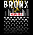 bronx print tee graphic design vector image vector image