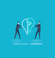 businessmen connect lamp puzzle vector image vector image