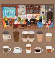 cafe interior people drink coffee paper cups vector image vector image