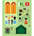 Camping concept Boy and girl in sleeping bags vector image vector image