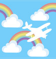 cartoon background with plane and clouds and vector image vector image