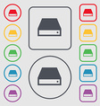 CD-ROM icon sign symbol on the Round and square vector image vector image