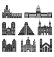 central america american buildings on white vector image vector image