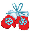 christmas toy in form red winter mittens vector image vector image
