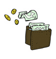 comic cartoon wallet spilling money vector image