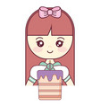 cute and little girl with sweet cake vector image vector image