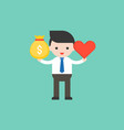 cute business man hold money bag and heart vector image