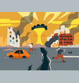 doomsday in ruined city last days of vector image vector image