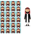 face emotions arab man set in flat vector image vector image