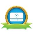 Gold media player logo vector image