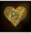 Golden heart on black background vector image vector image