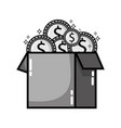 grayscale box open with coins cash money vector image vector image
