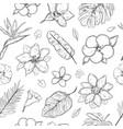 hand drawn exotic plants seamless pattern vector image
