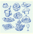 hand drawn restaurant or service elements vector image vector image