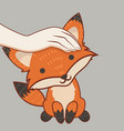 hand patting fox head vector image
