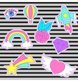 happy fashion patches retro sweet badges vector image