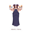 hekate or trivia - goddess witchcraft sorcery vector image vector image