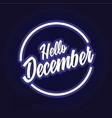 hello december circle neon vector image