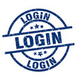 Login blue round grunge stamp