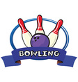 Logo design with bowling pins and ball vector image
