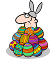 man in easter bunny costume cartoon vector image vector image