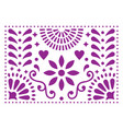 mexican folk art pattern purple design wit vector image vector image