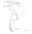 Outline map of the countries of South America vector image